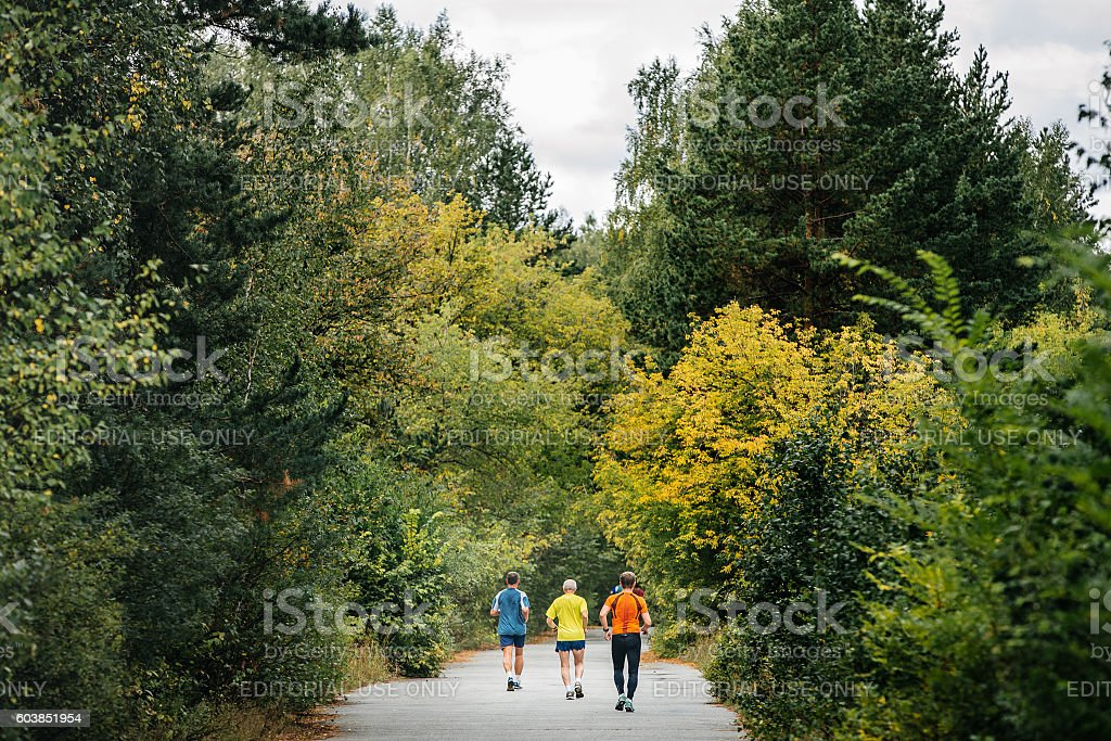 back three runners running in autumn forest stock photo