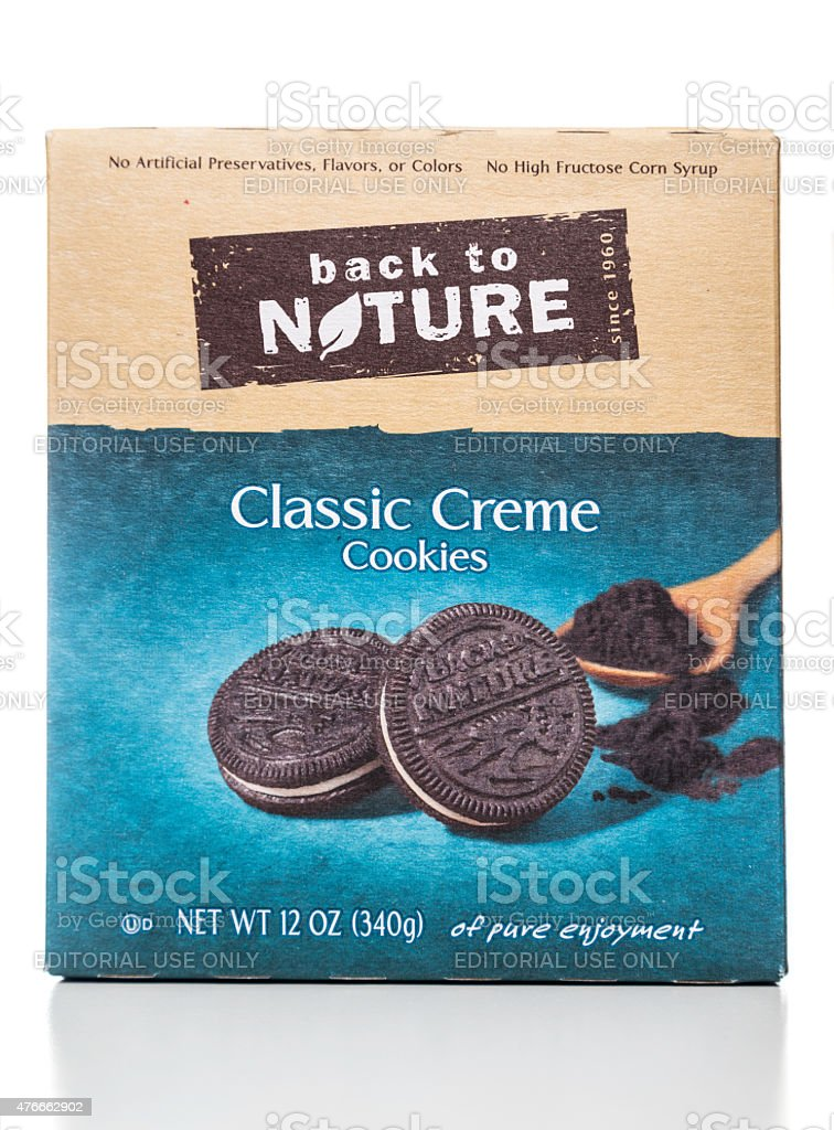 Back to nature classic creme cookies box stock photo