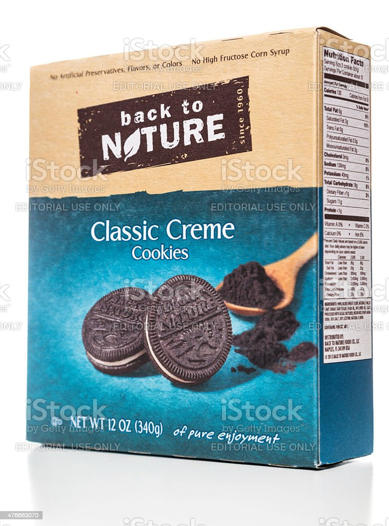 Back to nature classic creme cookies stock photo