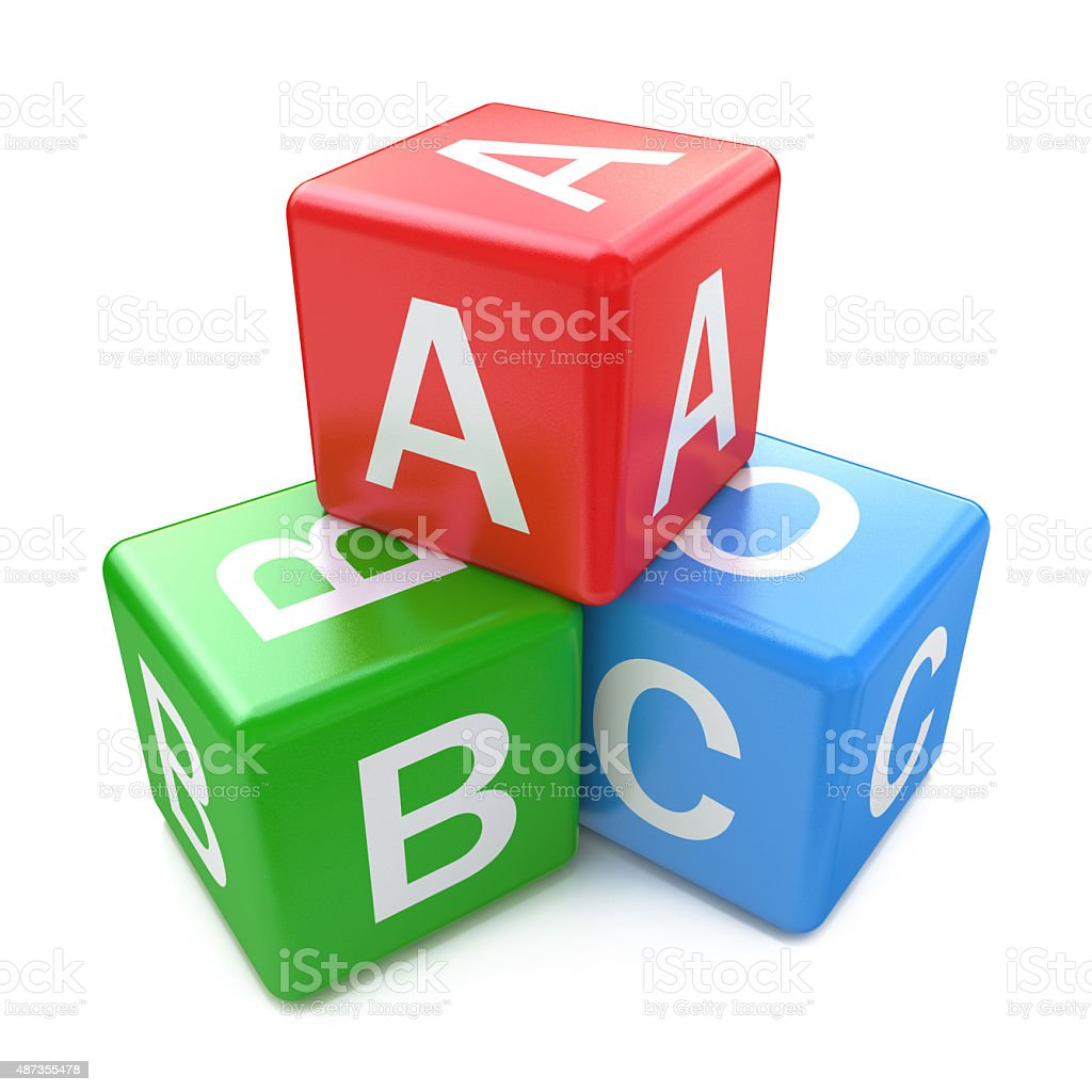 Back to school and education concept: ABC color glossy cubes stock photo
