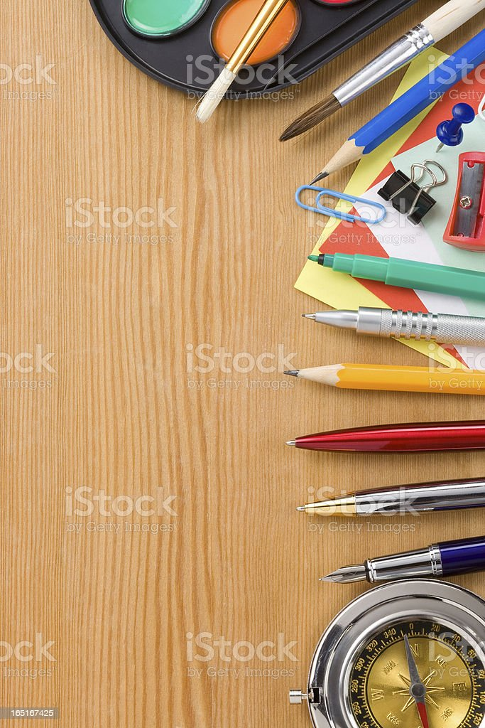back to school and supplies on wood royalty-free stock photo