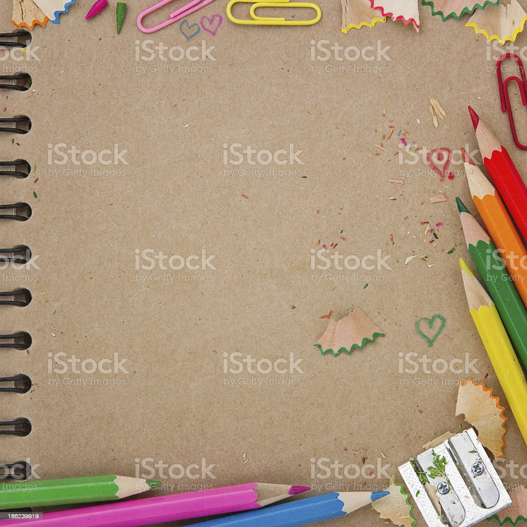 Back to school background with brown notebook royalty-free stock photo