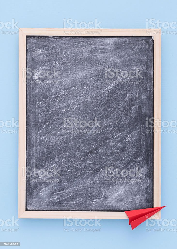 Back to school background with chalkboard. stock photo