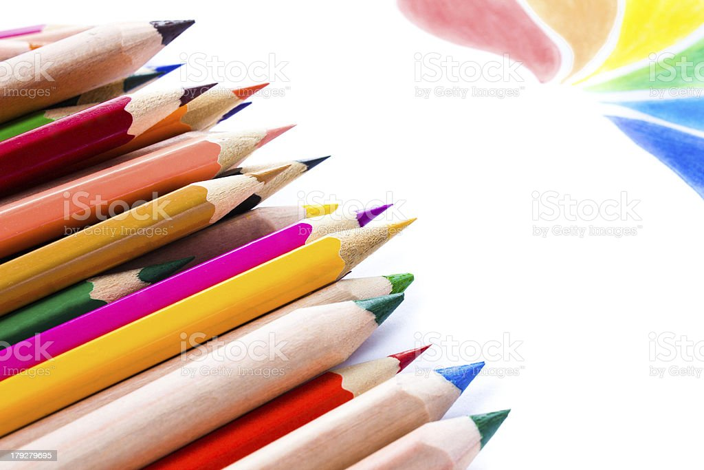 Back to School background with colored pencils. Copy space for royalty-free stock photo