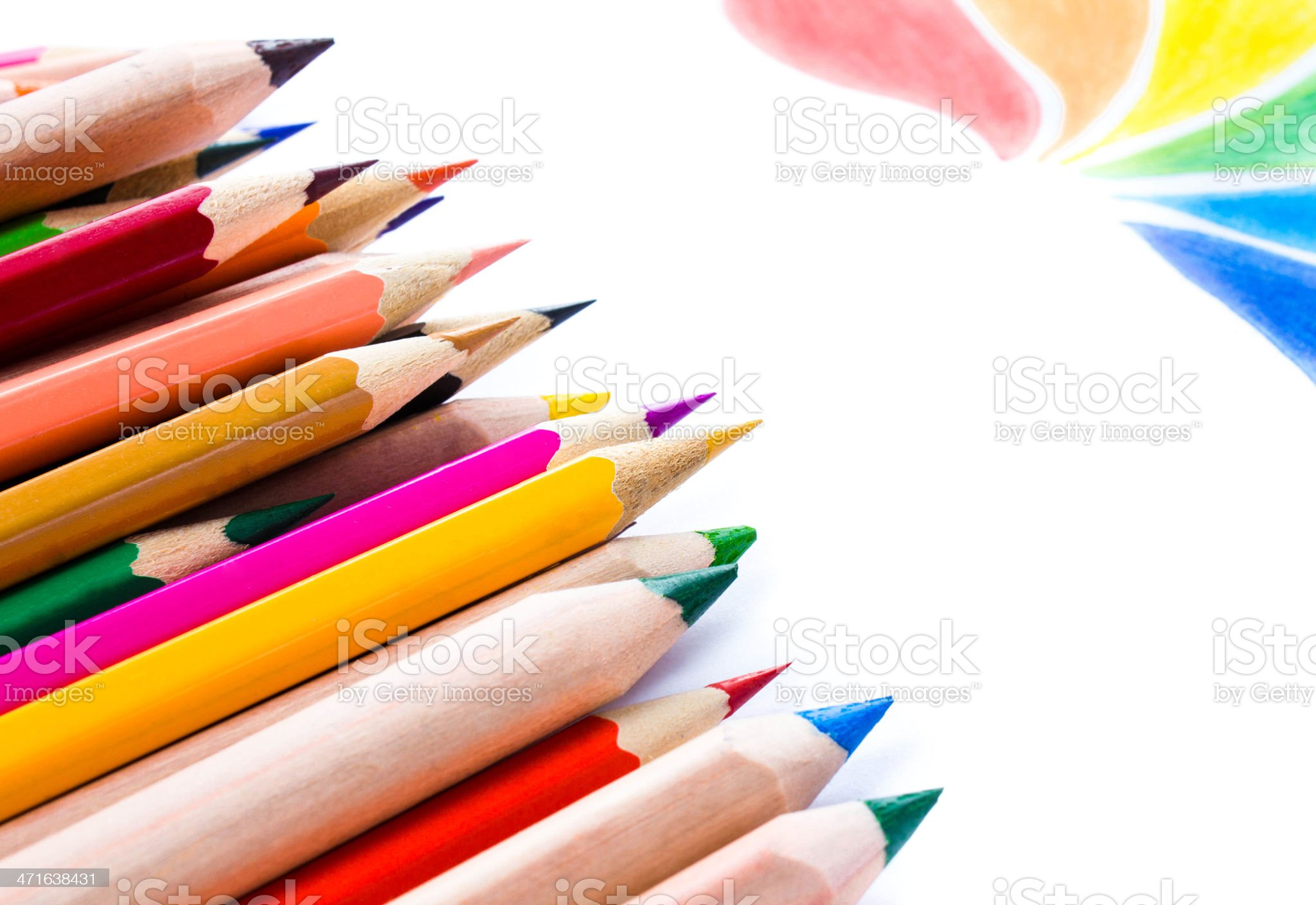 Back to School background with colored pencils. Copy space royalty-free stock photo