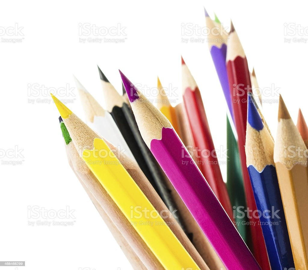 Back to School background with colored pencils. royalty-free stock photo