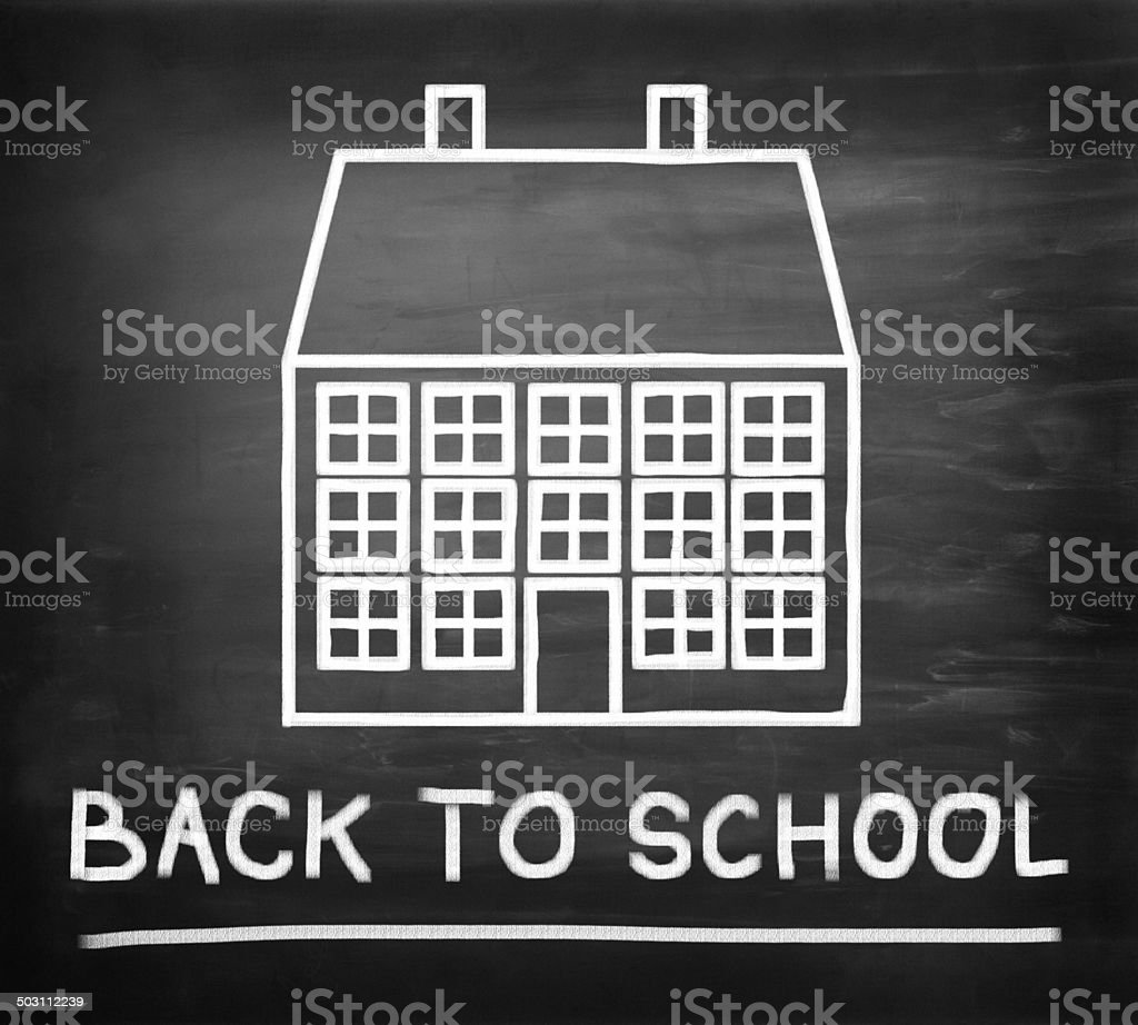Back to school, chalk drawing of school building on blackboard royalty-free stock photo