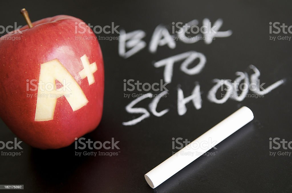 Back to School Chalk Message w Apple royalty-free stock photo