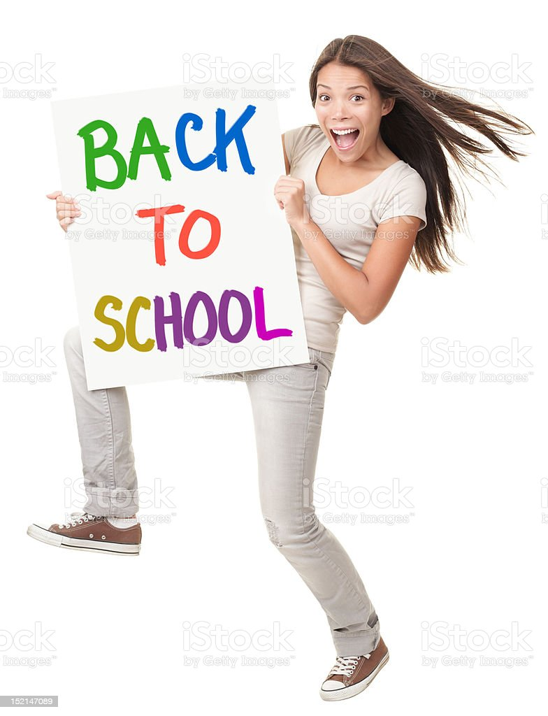 Back to School Cheerful Student with Sign royalty-free stock photo