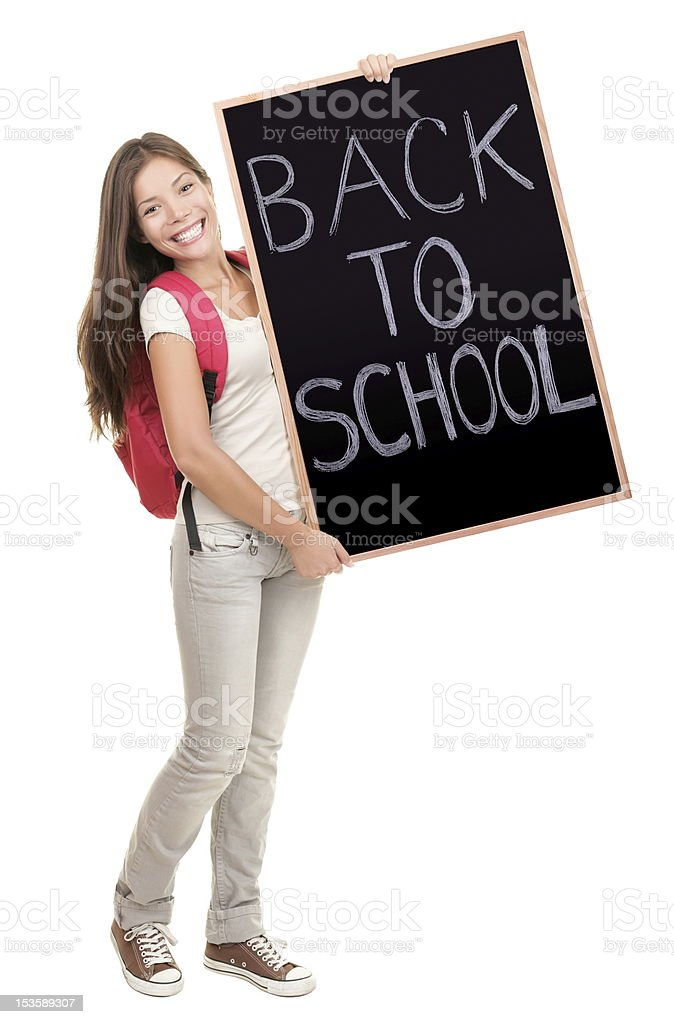 Back to school college student holding sign royalty-free stock photo