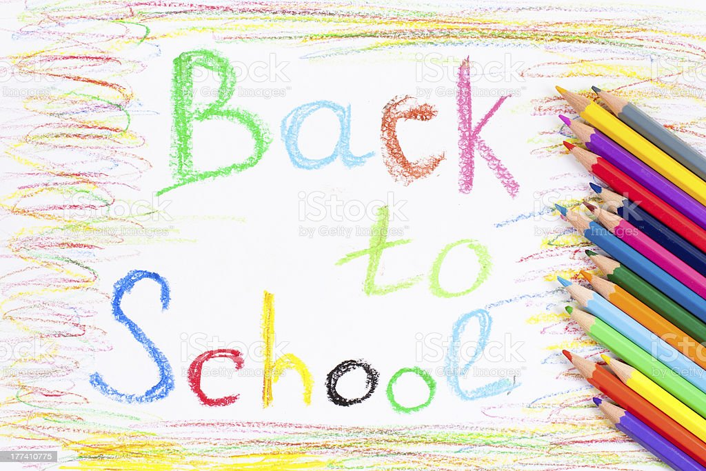Back to school color oil pastels handwriting royalty-free stock photo