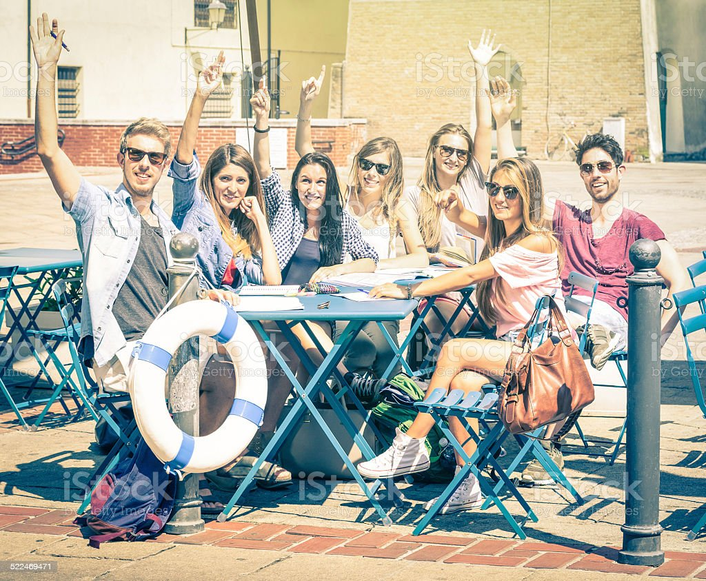 Back to school concept with group of happy best friends stock photo