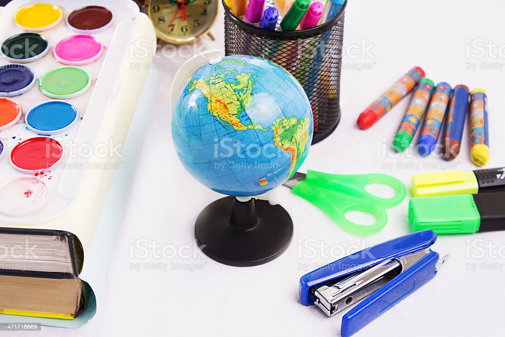 Back to school concept with office stationary royalty-free stock photo