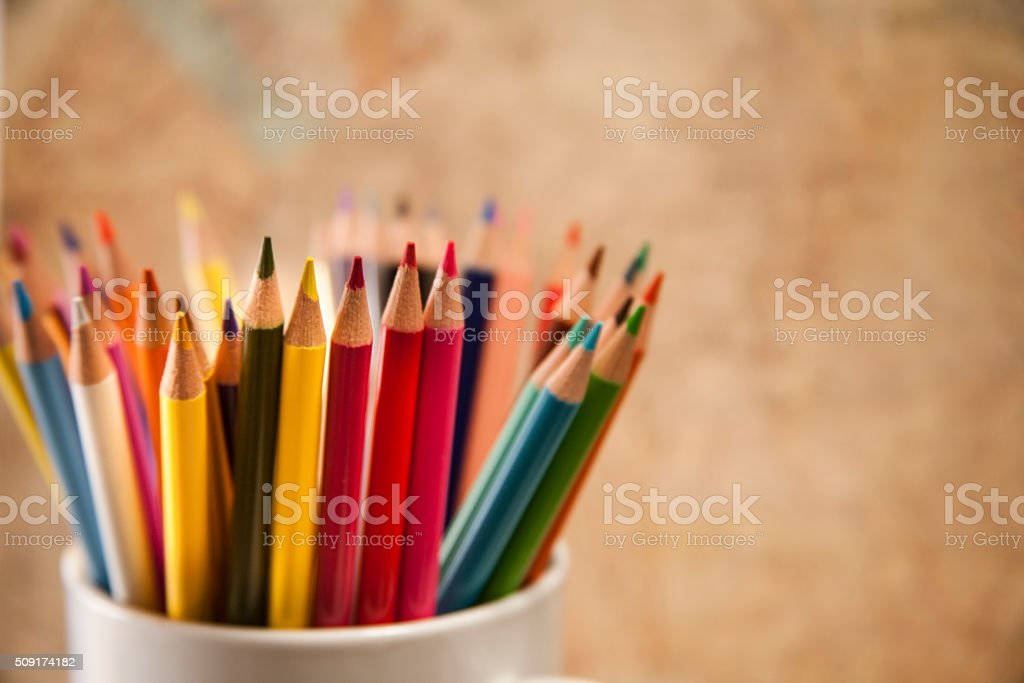 Back to school. Education.  Colorful sharpened pencils in a bunch. stock photo