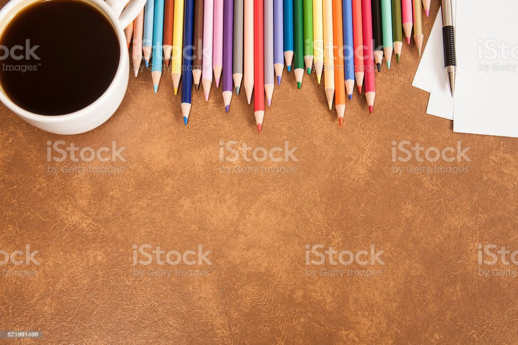 Back to school. Education.  Colorful sharpened pencils in a row. stock photo