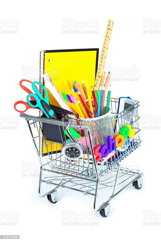 Back to School Education Shopping Cart for Supplies, Equipment Sale stock photo