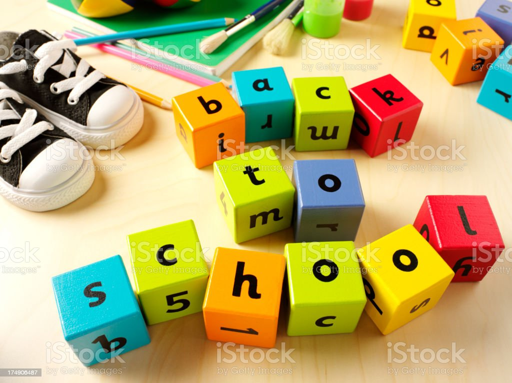 Back to School in Children's Building Bricks royalty-free stock photo