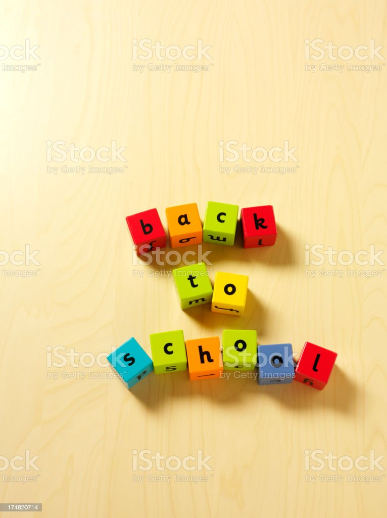 Back To School in Coloured Toy Bricks royalty-free stock photo
