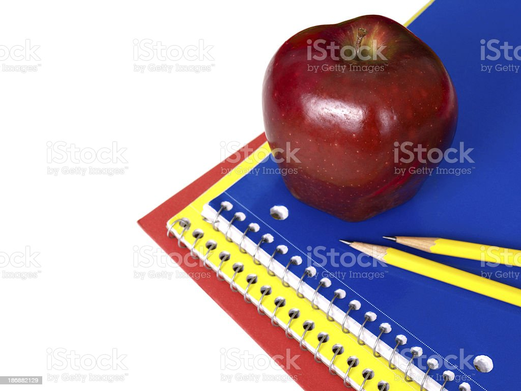 Back to School on White with Apple royalty-free stock photo