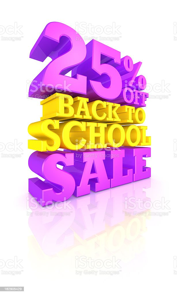 25% OFF Back to School SALE royalty-free stock photo