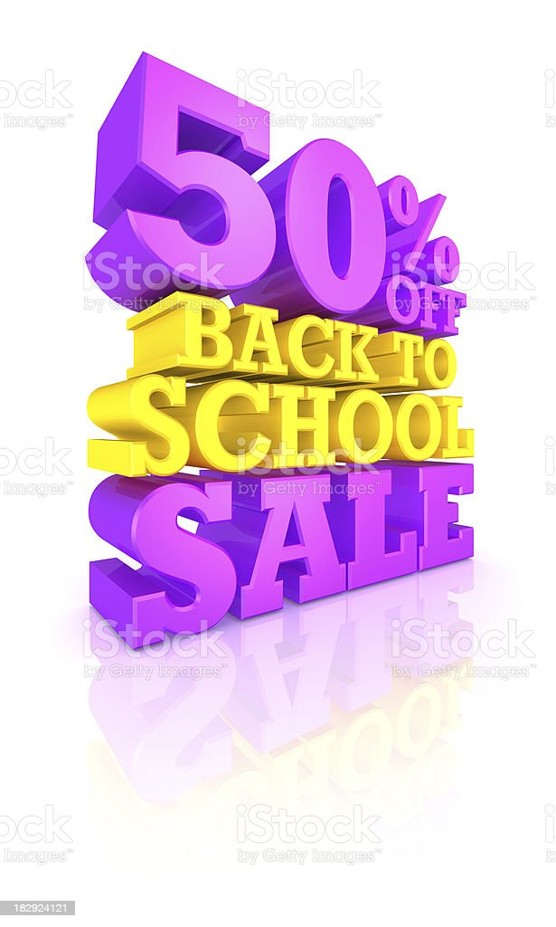 50% OFF Back to School SALE royalty-free stock photo