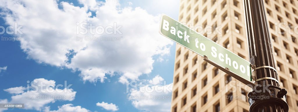 Back to school street sign royalty-free stock photo