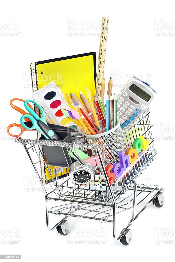 Back to School Supplies in Shopping Cart on White Background royalty-free stock photo