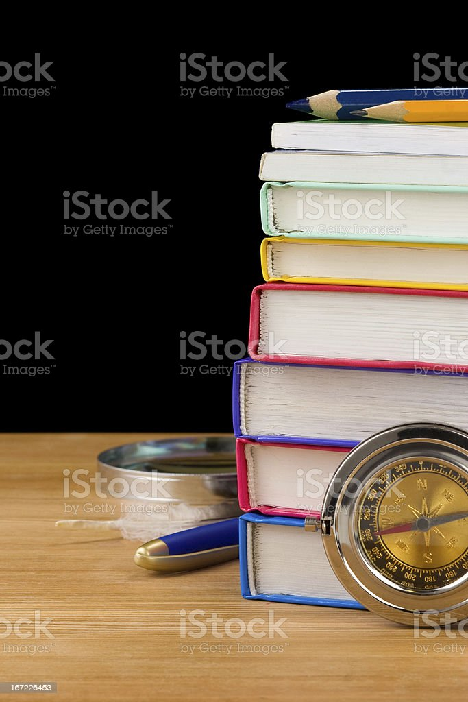 back to school supplies isolated on black royalty-free stock photo