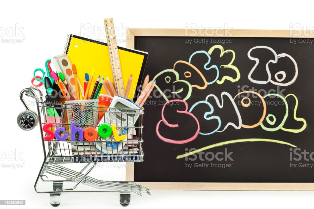 Back to School Supplies Shopping Cart on White Background royalty-free stock photo