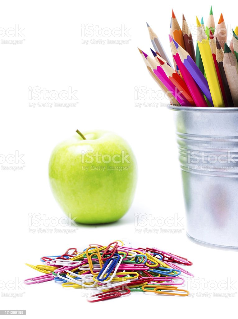 Back to school supplies with Color pencils in pencil  holders stock photo
