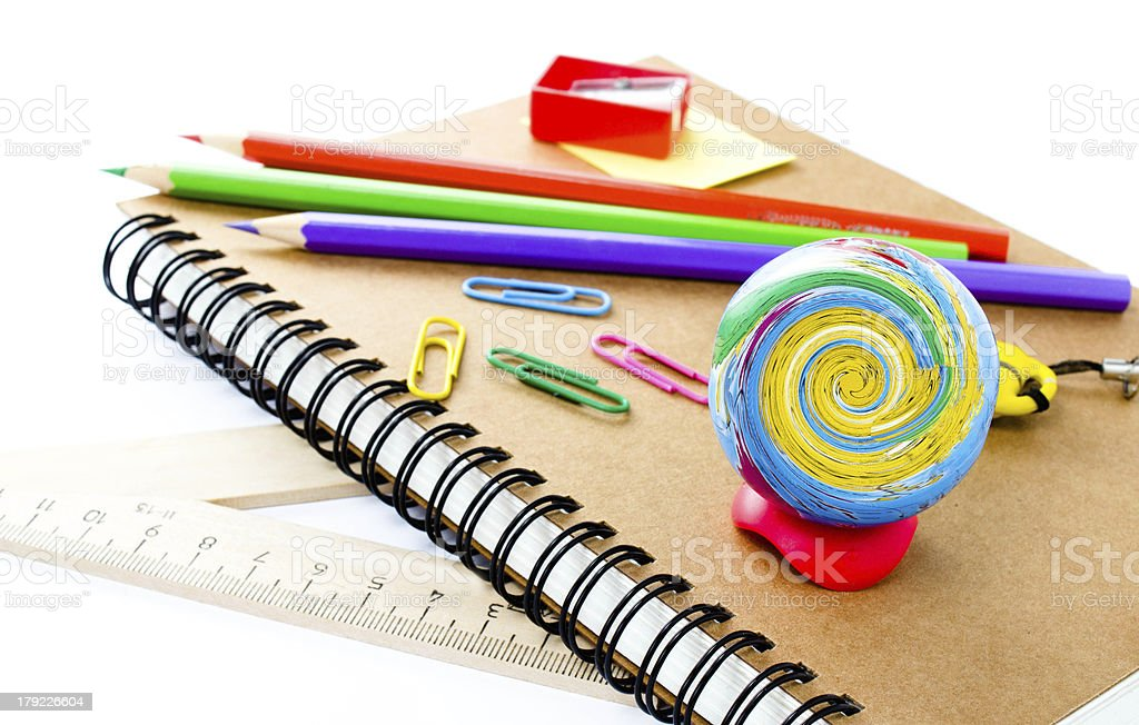 Back to school supplies with Notebook and pencil on white royalty-free stock photo