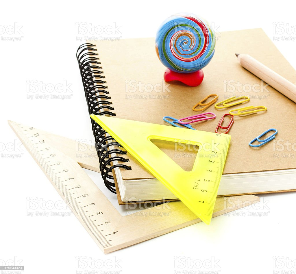 Back to school supplies with notebook and pencils. Schoolchild royalty-free stock photo