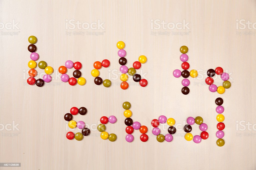 Back To School Text Written with Colourful Candy Letters stock photo
