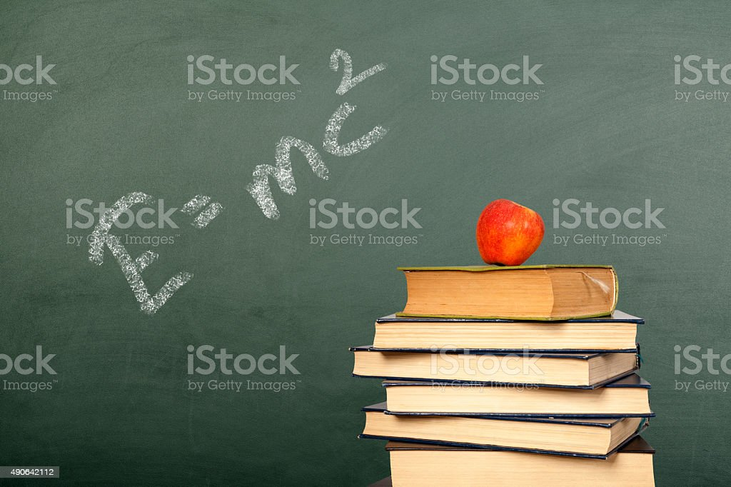 Back to school theme on Chalkboard stock photo