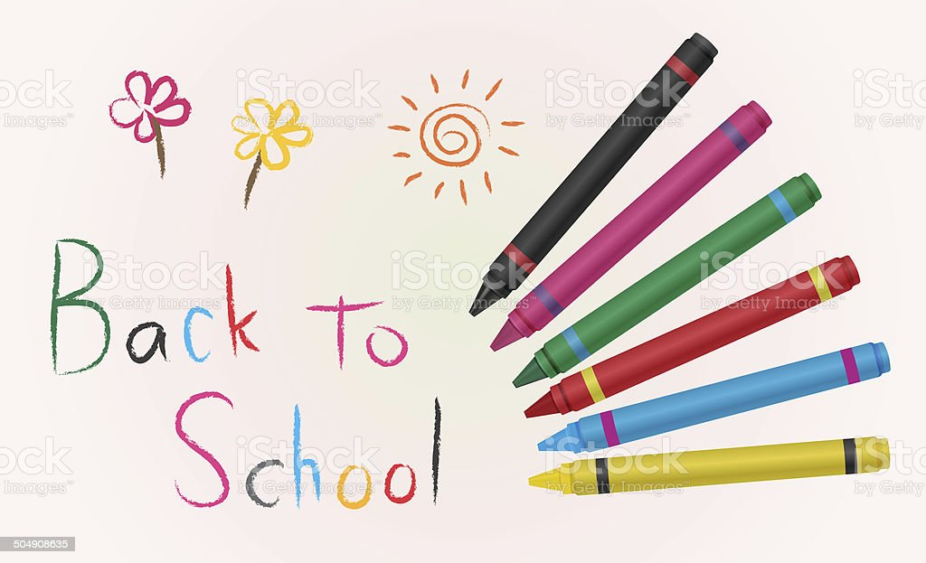 Back to school with crayon color royalty-free stock photo