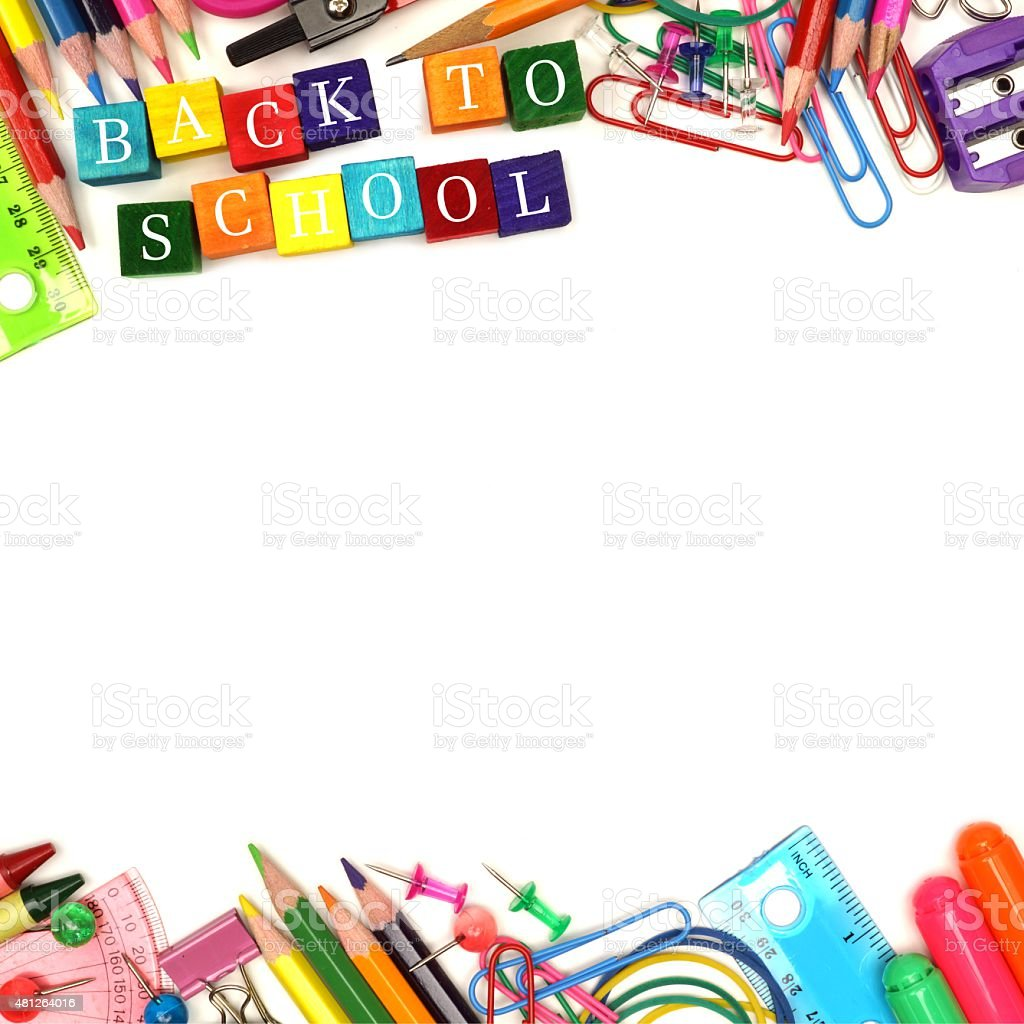 Back To School wooden blocks with double border stock photo