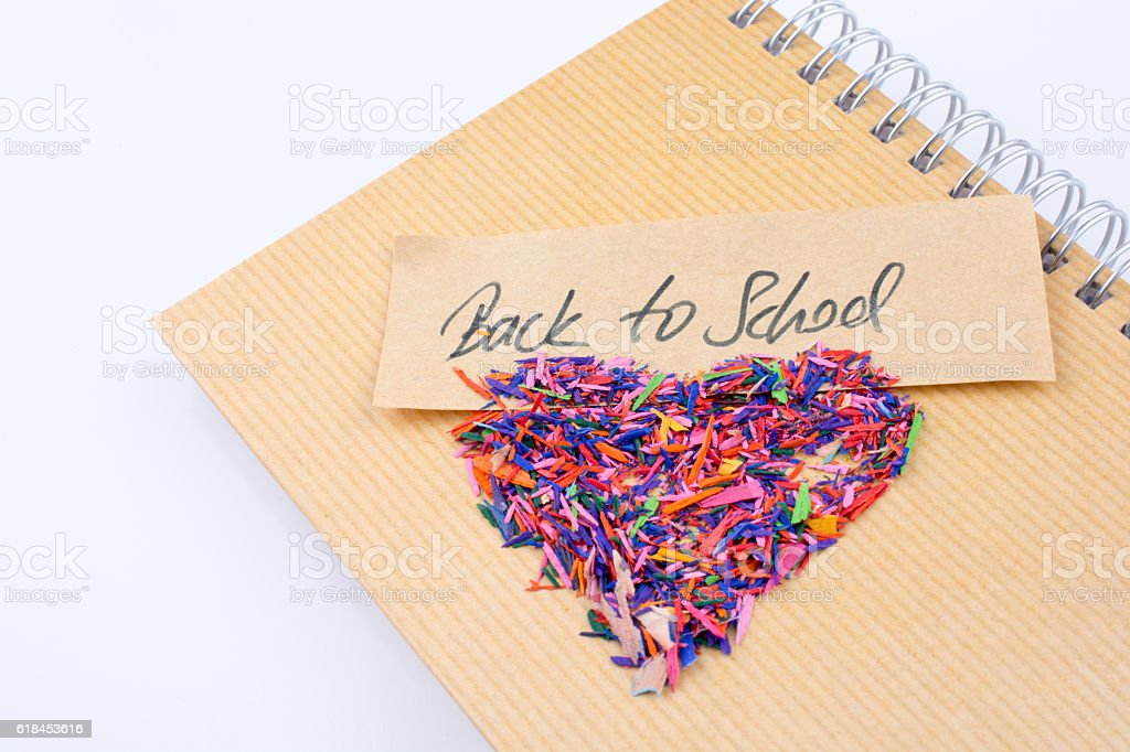 Back to school written title  and a heart shape stock photo