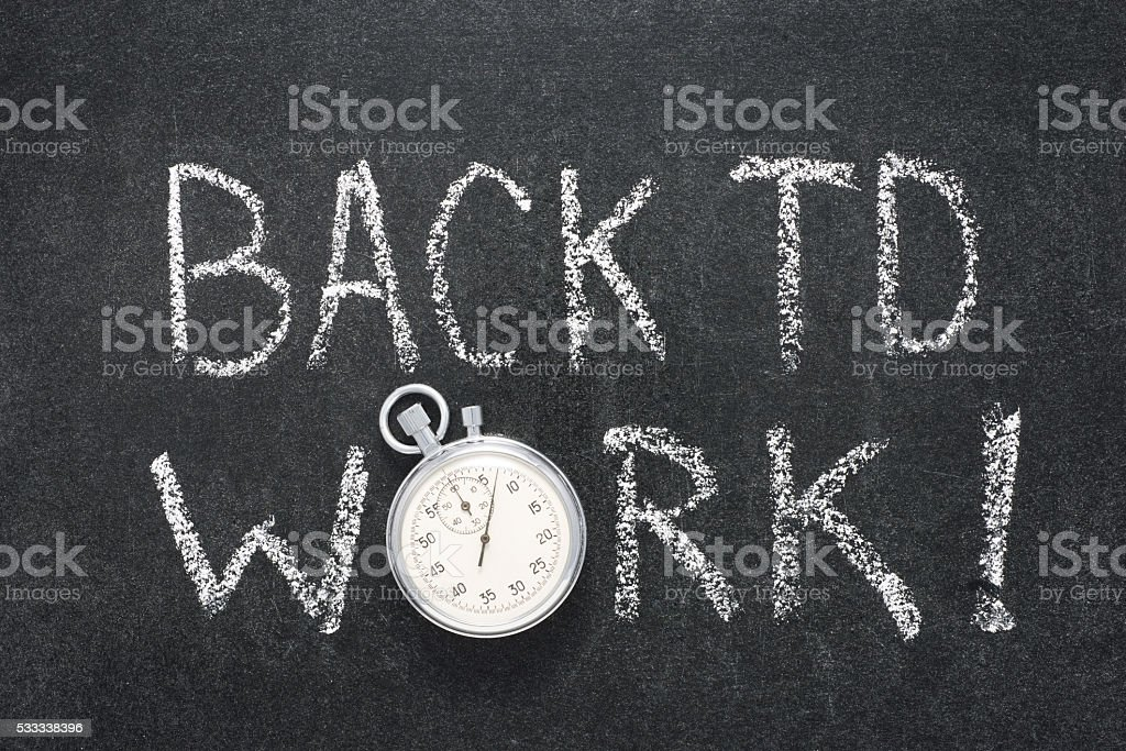 back to work watch stock photo