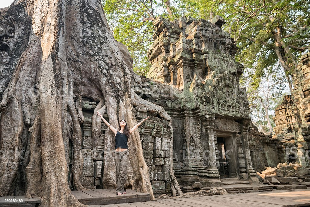 Back to your Roots, Banyan Tree, Ta Prohm Temple, Cambodia stock photo