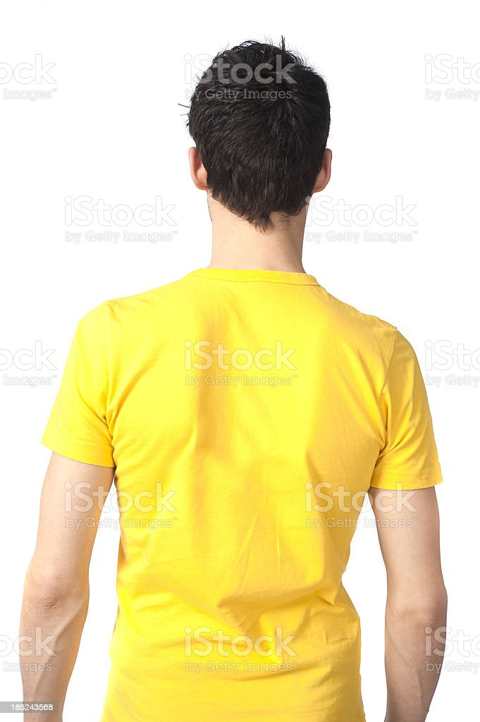 back torso of a man with yellow shirt royalty-free stock photo