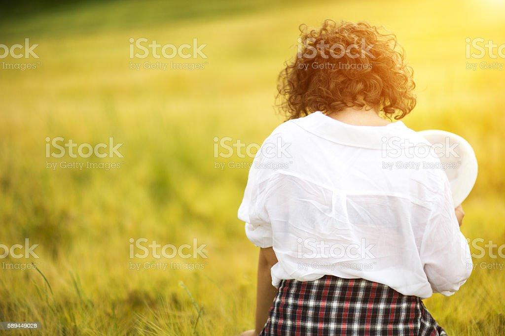 Back view beautiful caucasian young women stock photo