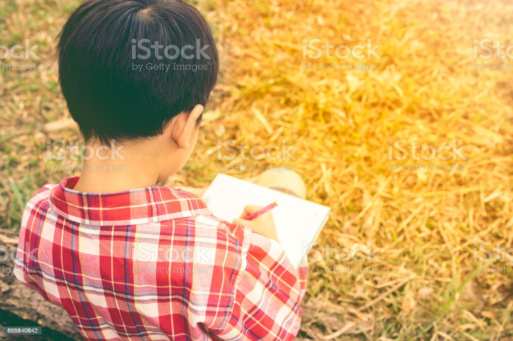 Back view. Boy writing on book. Education concept. Vintage style. stock photo