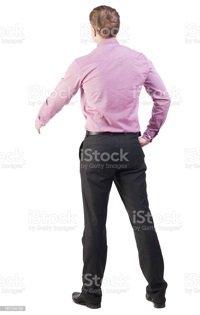 back view businessman in red shirt out to shake hands royalty-free stock photo