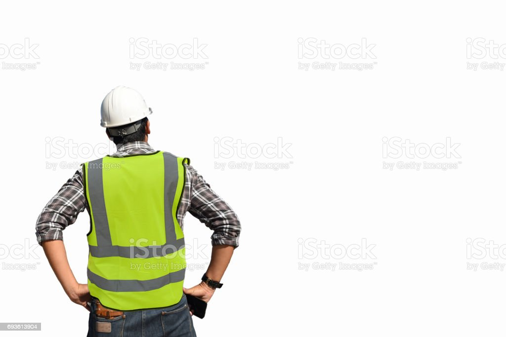 back view civil engineer hold the helmet inspection worker job in construction site stock photo