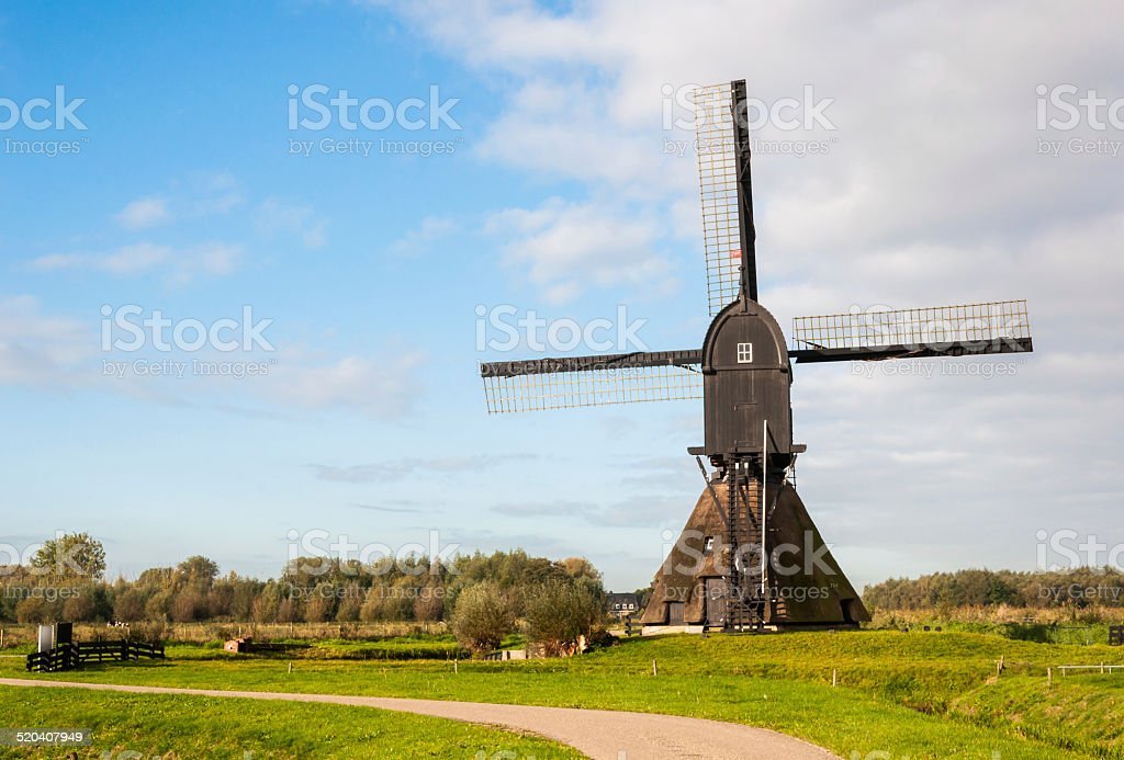 Back view Dutch windmill in autumn stock photo