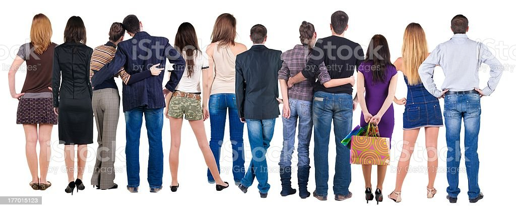 Back view group of people who are looking stock photo
