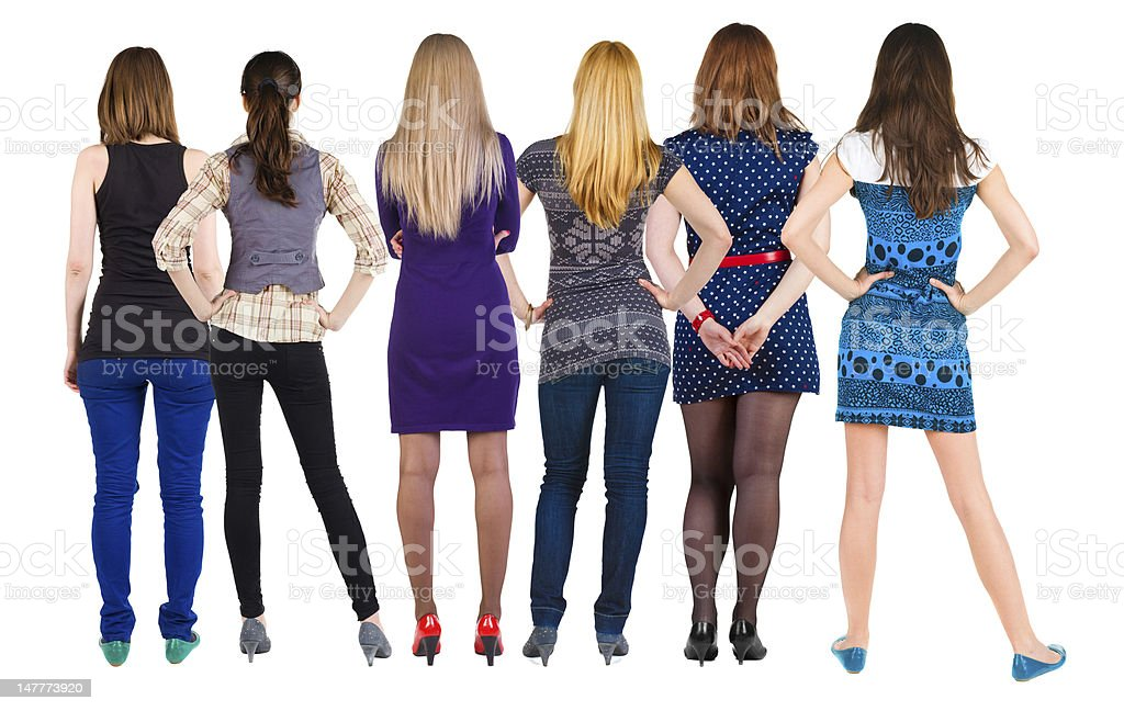 Back view group of woman stock photo