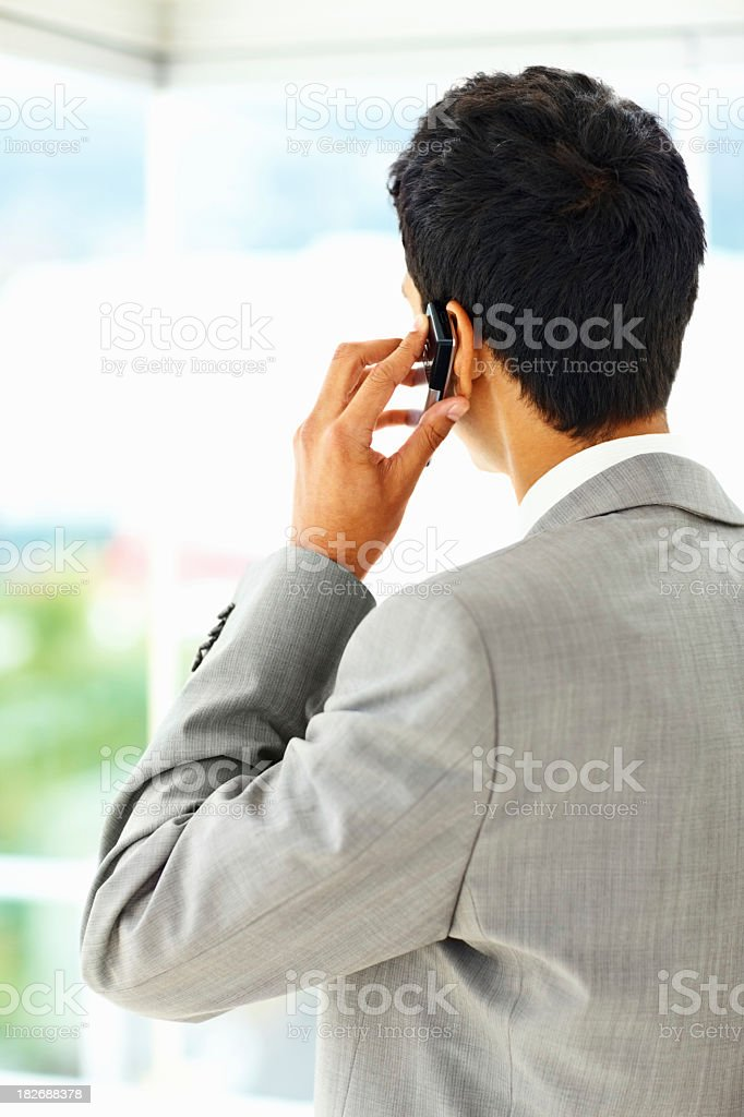 Back view of a businessman talking on cellphone royalty-free stock photo