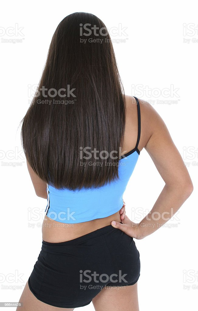 Back View Of A Teen Girl In Workout Clothes royalty-free stock photo