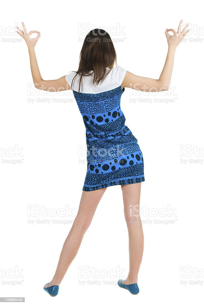 Back view of beautiful brunette woman royalty-free stock photo